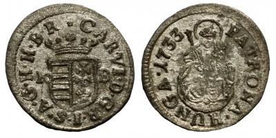 III.Károly denár 1733 KB.