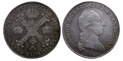 II.József 1/2 koronatallér 1789 A