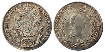 II.Lipót 20 krajcár 1792 B