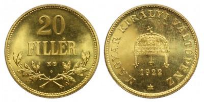 20 Fillér 1922 Artex veret