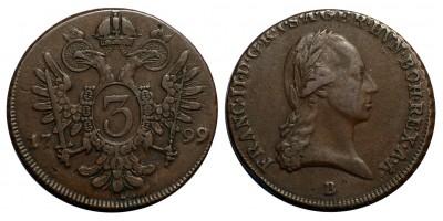 II.Ferenc 3 krajcár 1799 B