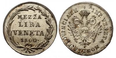 I.Ferenc mezza 1/2 lira 1800 Velence