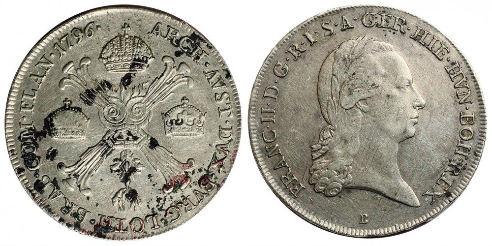 I.Ferenc 1/2 koronatallér 1796 B