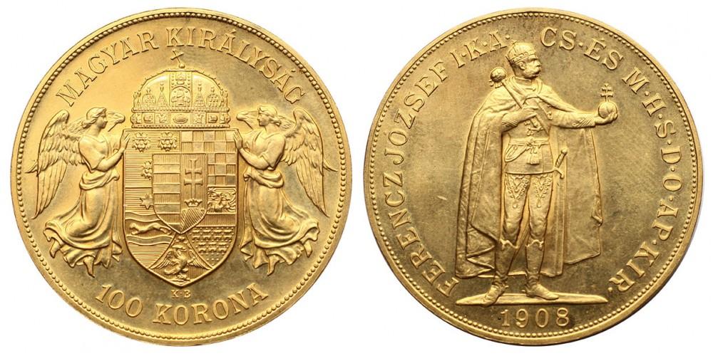 100 Korona 1908 KB. utánveret