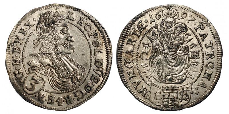 I. Lipót 3 krajcár 1697 CH