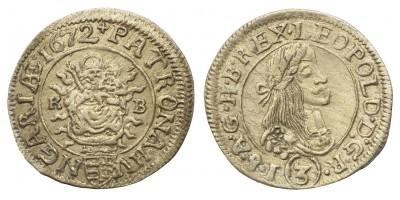 I.Lipót 3 krajcár 1672 KB
