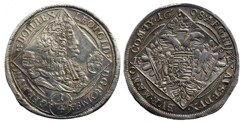I. Lipót 1/4 tallér 1698 KB