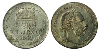 Ferenc József 20 krajcár 1869 KB.
