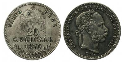 Ferenc József 20 krajcár 1870 GYF.