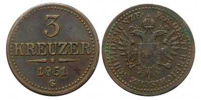 Ausztria 3 krajcár 1851 G