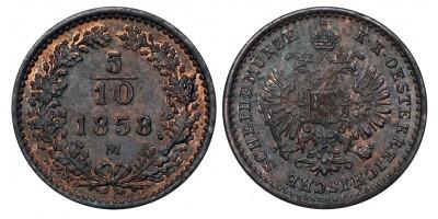 Ferenc József 5/10 krajcár 1858 M