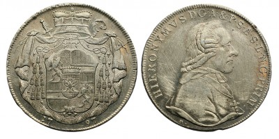 Salzburg Hieronimus Graf von Colloredo 1772 - 1803 tallér 1797 M Salzburg