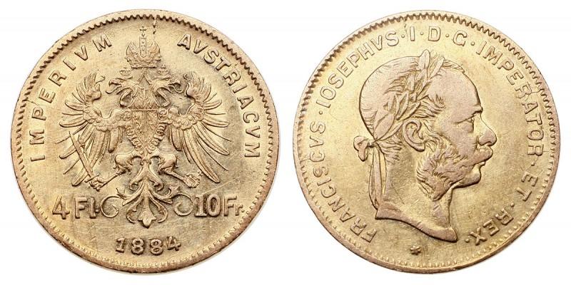 Ferenc József 4 forint-10 frank 1884