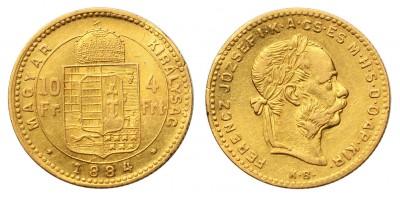Ferenc József 4 Forint 1884 KB