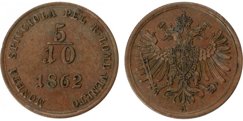 Ausztria-Lombardia 5/10 soldo 1862 A