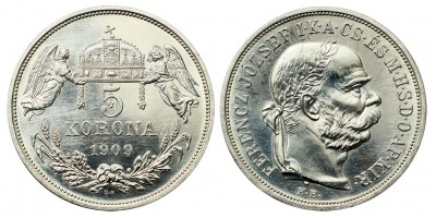 Franz Joseph 5 Korona 1909 KB