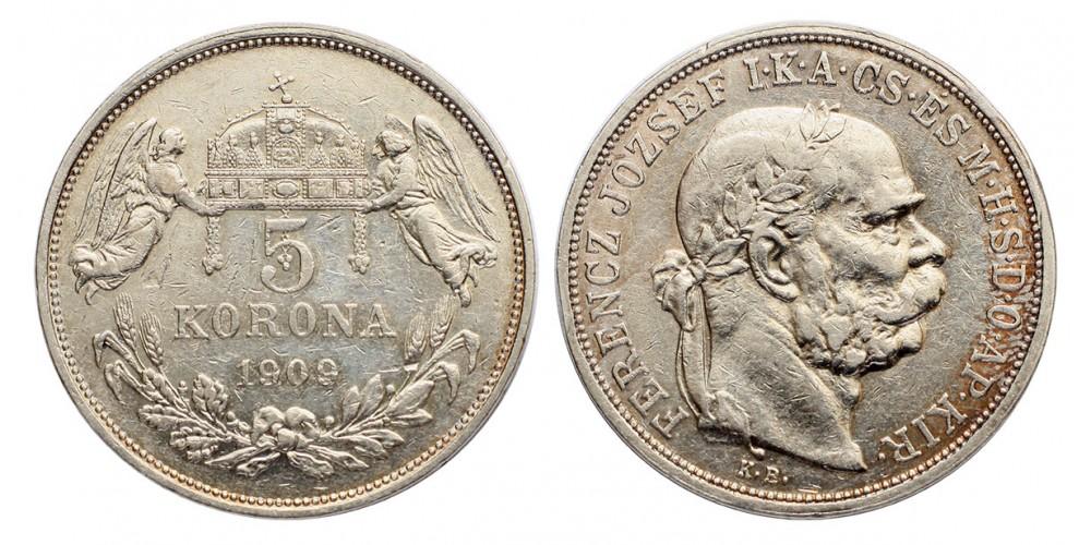 Ferenc József 5 korona 1909 KB.