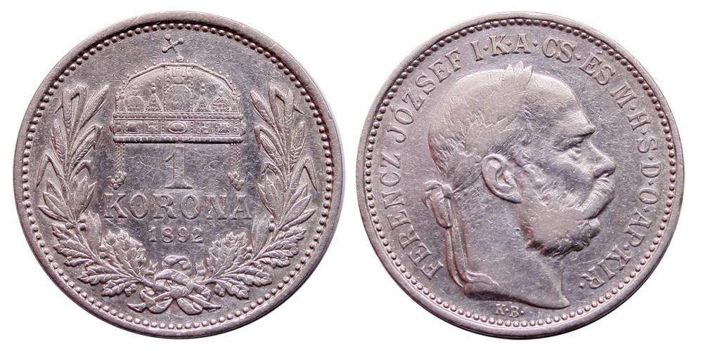 Ferenc József 1 Korona 1892 KB.