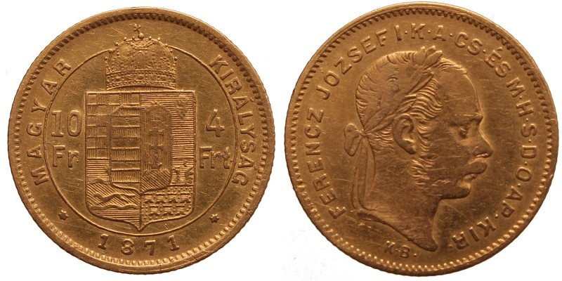 Ferenc József 10 frank-4 Forint 1871 KB