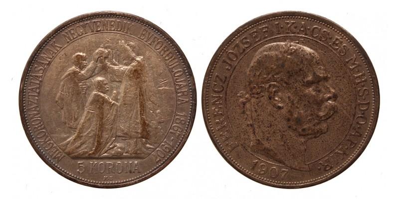 Ferenc József  koronázási 5 korona 1907 KB.