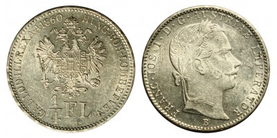 Ferenc József 1/4 florin 1860 B