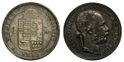 Ferenc József 1 Forint 1881 KB széles címer