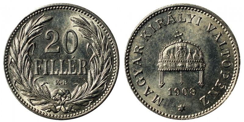 Ferenc József 20 fillér 1908 KB.