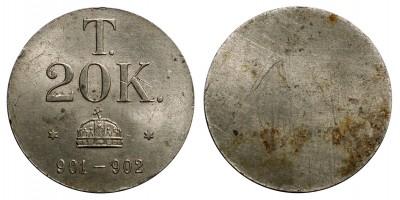20 korona pénz súly