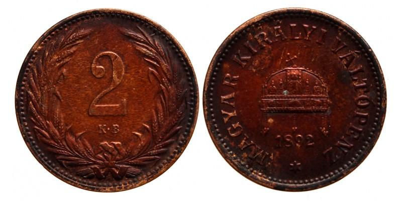 Ferenc József 2 fillér 1892 KB