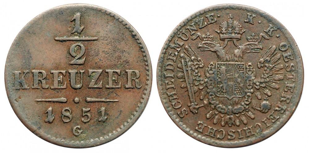 Ferenc József 1/2 krajcár 1851 G