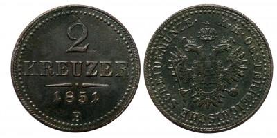 Ausztria 2 krajcár 1851 B