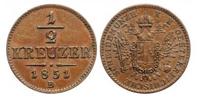 Ausztria 1/2 Krajcár 1851 B
