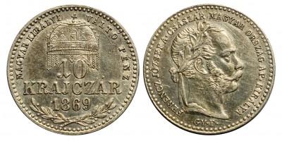 Ferenc József 10 krajcár 1869 Gyf