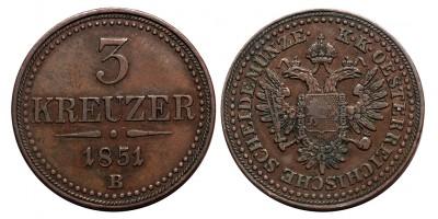 Ausztria 3 krajcár 1851 B