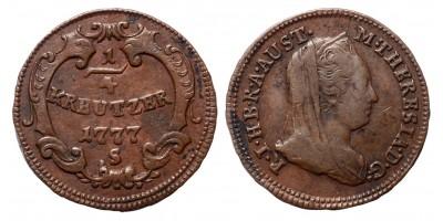 Mária Terézia 1/4 krajcár 1777 S R!