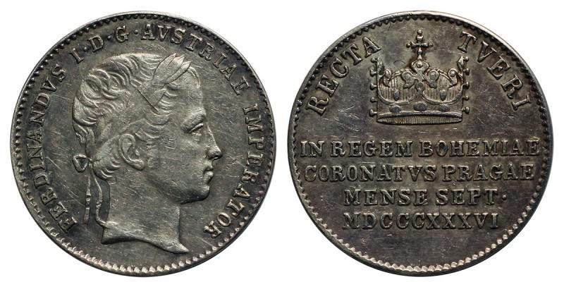 V. Ferdinánd (1835-1848) Koronázási zseton 1836 Prága 3.2g