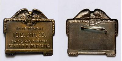 """1919 Balassagyarmat Civitas Fortissima"" jelvény"