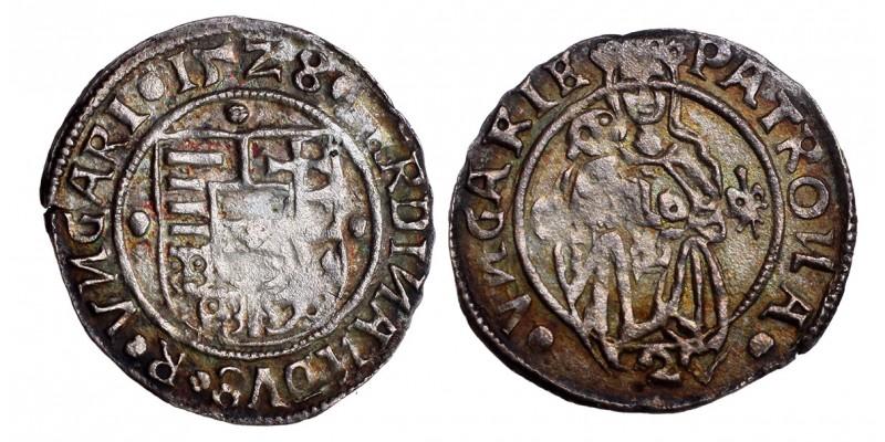 I. Ferdinánd denár 1528 C-liliom, címer körül rozetták