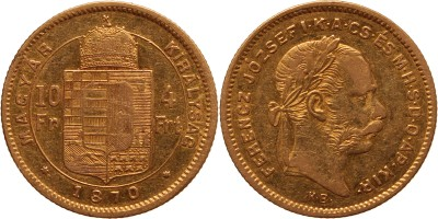 Ferenc József 10 frank-4 forint 1870 KB