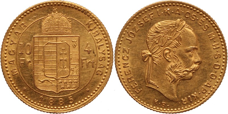 Ferenc József 10 frank-4 forint 1885 KB
