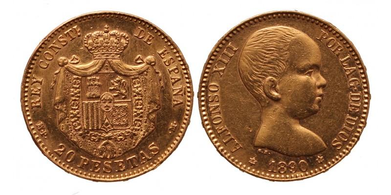 Spanyolország 20 peseta 1890
