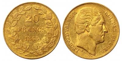 Belgium arany 20 Francs 1865