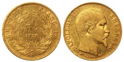 Franciaország arany 20 Francs 1858 A