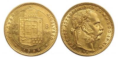 Ferenc József 8 Forint 1884 KB