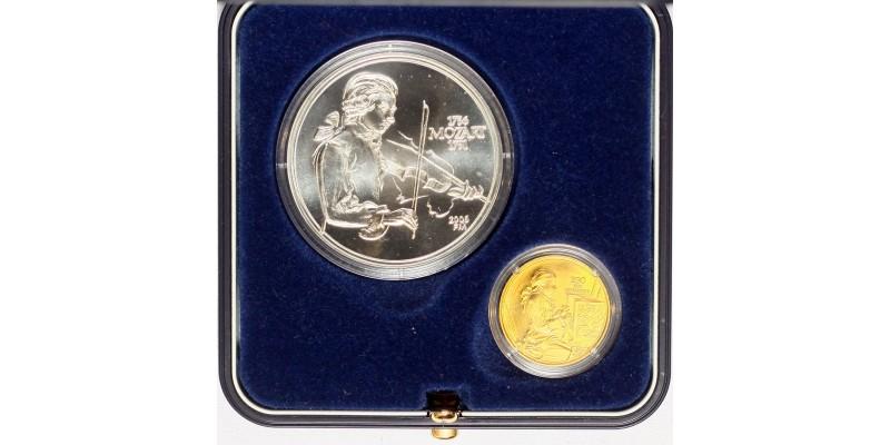 Mozart születésnek 250.évfordulójára ezüst és arany érem pár