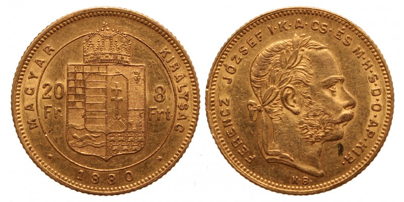20 frank 8 forint 1880 KB. R!
