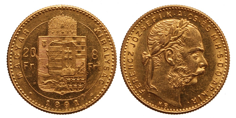 20 frank 8 forint 1891 KB Fiume