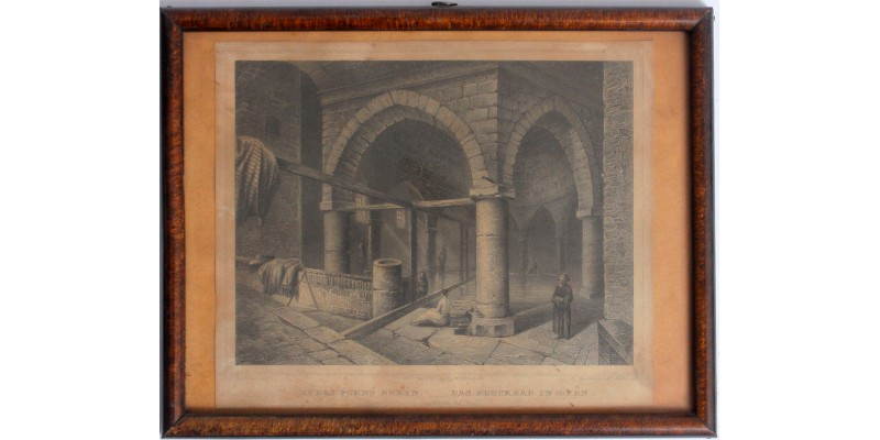 Rudas fürdő Budán 1854-60 - metszet, antik keretben