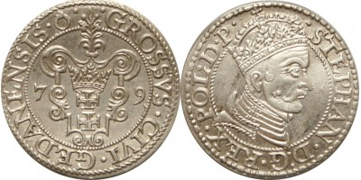 Lengyelország Báthory István garas 1577 Danzig