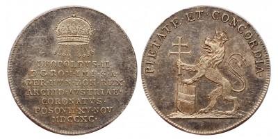 II.Lipót koronázása ezüst zseton Pozsony 1790 ezüst zseton